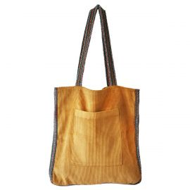 Sac velours moutarde