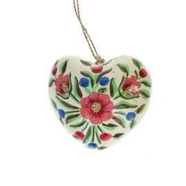 Suspension coeur fleurs peintes à la main