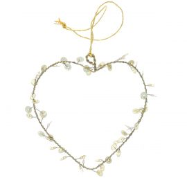 Petite suspension coeur doré sequins
