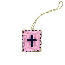 Suspension croix rose en perles