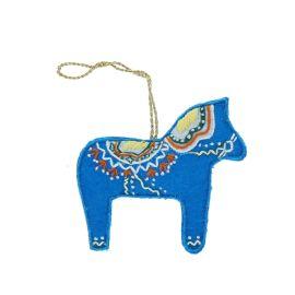 Suspension de noël cheval bleu