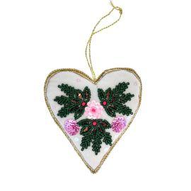Suspension de Noël coeur fleuri