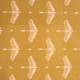 Toile cirée oiseaux moutarde
