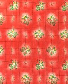 Toile cirée mexicaine fleurs rouge