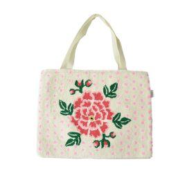 Tote bag en crochet fleur rose