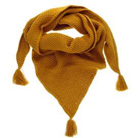 Trendy châle marron à broderie avec pompons