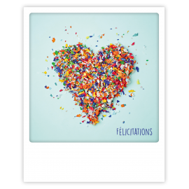 Carte polaroid coeur confetti félicitations